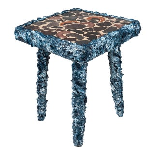 Hear the Sailors' Cry, Hand-Painted Antique Stool/ Table by Atelier Miru For Sale