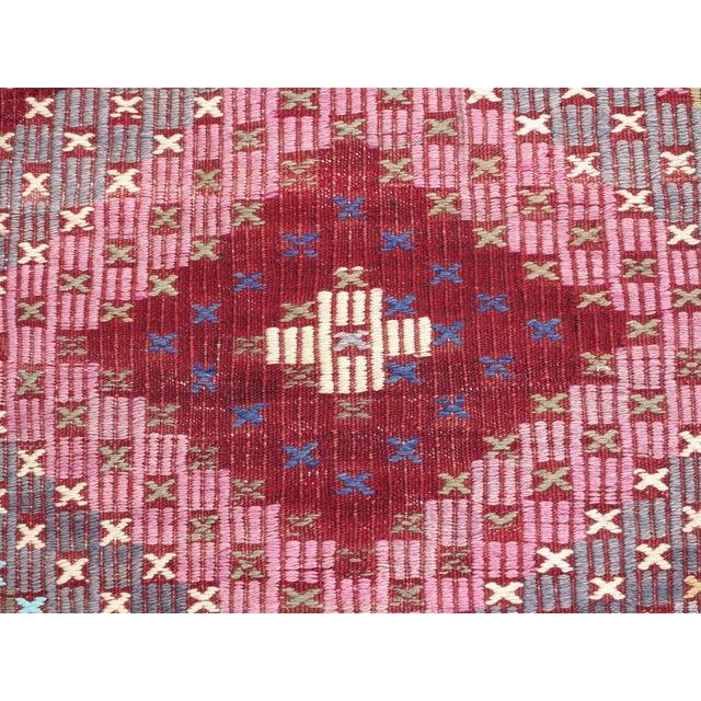 "Red Vintage Turkish Handmade Kilim Rug-6'1'x9'7"" For Sale - Image 8 of 13"