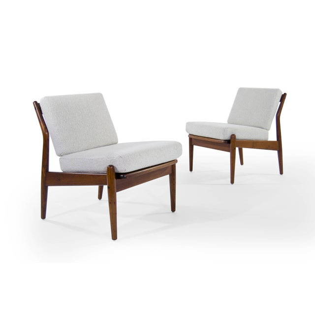Scandinavian Modern Wool Upholstered Teak Slipper Chairs - a Pair For Sale - Image 4 of 10