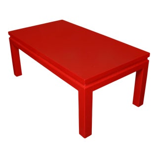 Karl Springer Style Backgammon Coffee Table in Red Lacquer For Sale
