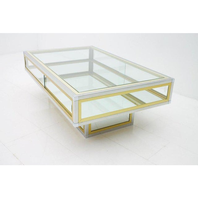 Vitrine Coffee Table in Chrome, Brass and Glass, France 1970s For Sale - Image 13 of 13