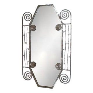 Edgar Brandt Style French Art Deco Steel Mirror For Sale