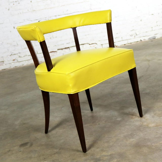 Mid-Century Modern Mid Century Modern Yellow Vinyl and Oak Barrel Back Side Chair For Sale - Image 3 of 13