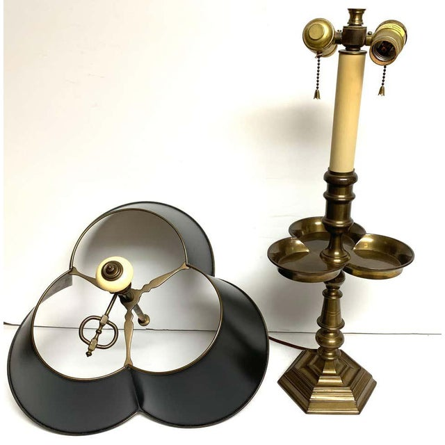 Mid 20th Century Brass and Tole Clover Bouillotte Lamps, by Chapman - a Pair For Sale - Image 5 of 10