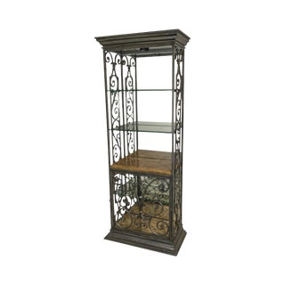 Artistica Wrought Iron Mirror Back Etagere W/ Glass Shelves & Marble For Sale
