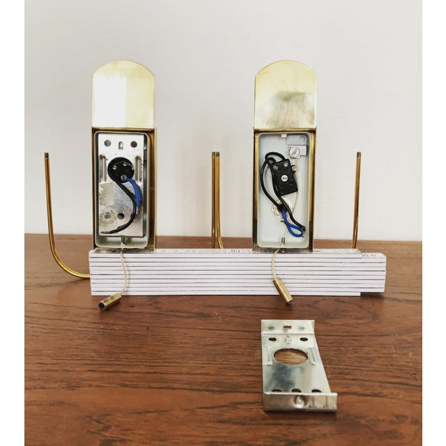 Metal Set of 2 Mid-Century Modern Brass and Ice Glass Wall Sconces by Doria For Sale - Image 7 of 8