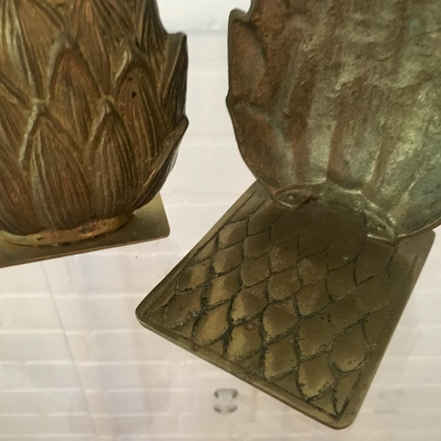 Mid 20th Century Pair of Mid-Century Brass Pineapple Bookends For Sale - Image 5 of 6