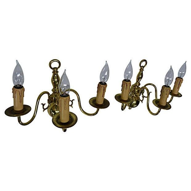 Dutch-Style 3-Arm Brass Sconces - Pair For Sale - Image 4 of 5