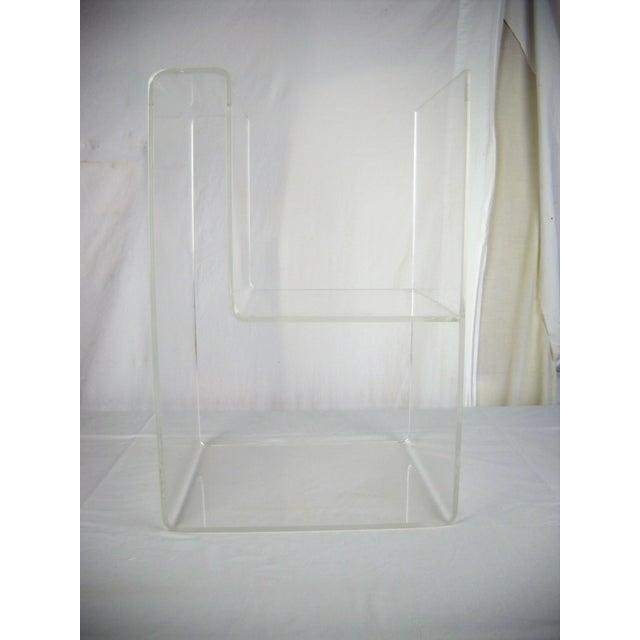 Plastic Large Lucite 2-Level Magazine Rack For Sale - Image 7 of 9