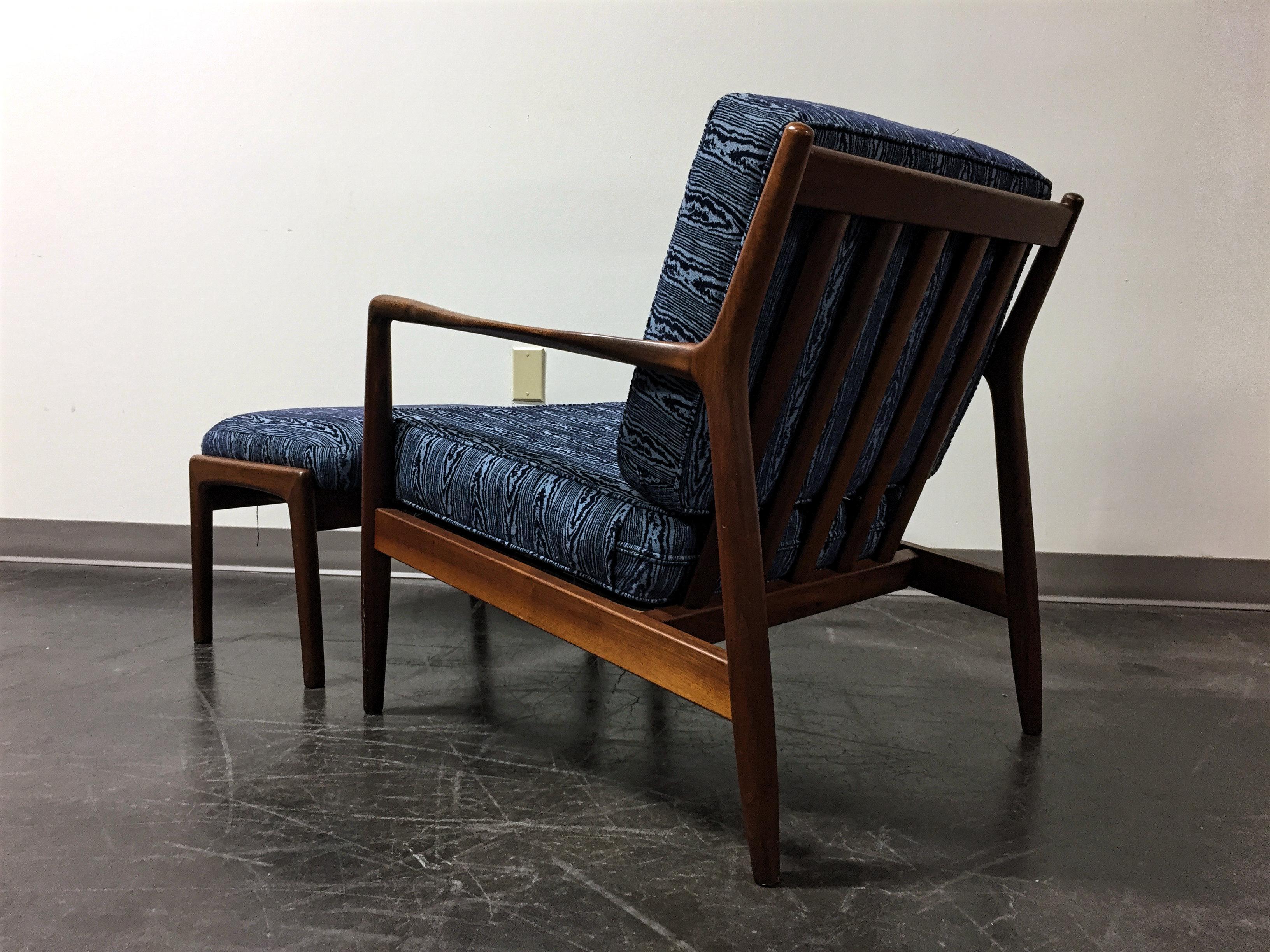 Folke Ohlsson Dux Sweden Mid Century Danish Modern Teak Lounge Chair U0026  Ottoman   Image 3