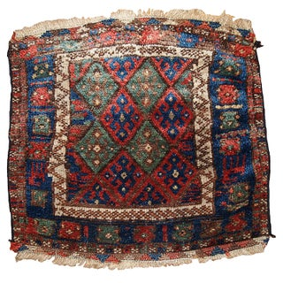 1880s Hand Made Antique Collectible Persian Kurdish Bag Face Rug - 2′ × 2′1″