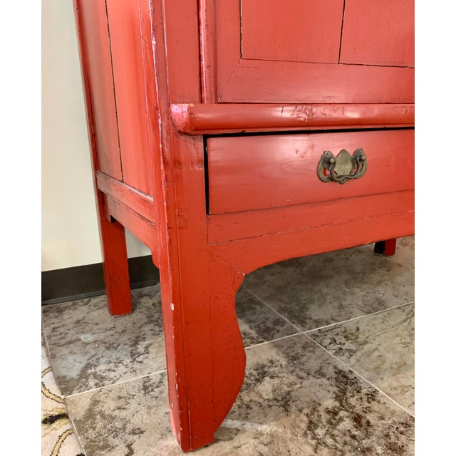 Red Chinese Red Lacquered Armoire Cabinet For Sale - Image 8 of 11