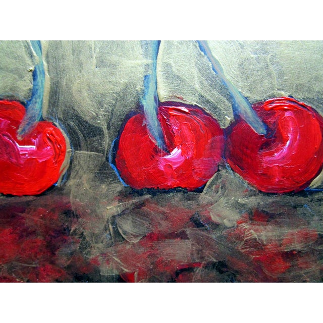 2020s Garden Orchard Red Cherries Still Life Oil Painting For Sale - Image 5 of 5