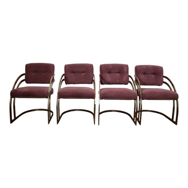 Milo Baughman Brass Cantilever Chairs - Set of 4 - Image 1 of 4