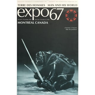 Original Vintage 1967 Montreal Expo 67 Poster, Man as Producer (Inuit Sculpture) For Sale