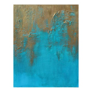 "Original ""Bronzed Earth II"" Abstract Modern Turquoise Blue Bronze Metallic Textured Painting on Canvas"