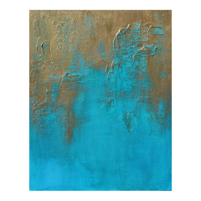 """Original """"Bronzed Earth II"""" Abstract Modern Turquoise Blue Bronze Metallic Textured Painting on Canvas - Image 1 of 4"""