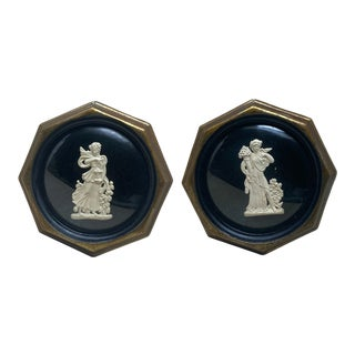 Antique Roman Intaglio Mounted Plaster Cameos in Geometric Gold Frame & Dome Glass – a Pair