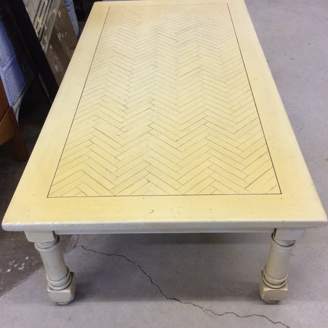 Yellow French Country Yellow Wood Coffee Table with Herringbone Pattern Top For Sale - Image 8 of 9