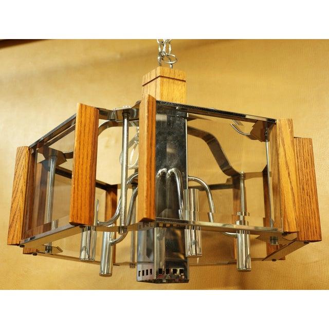 Fredrick Ramond Lighting Oak, Chrome and Glass Pendant Chandelier For Sale - Image 13 of 13