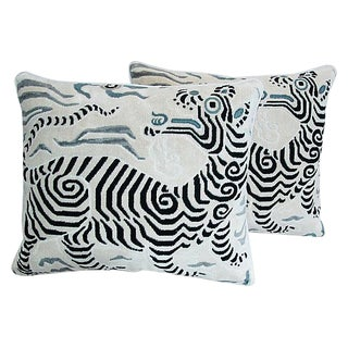 "Custom Clarence House Dragon Fabric Feather/Down Pillows 24"" X 22"" - Pair For Sale"