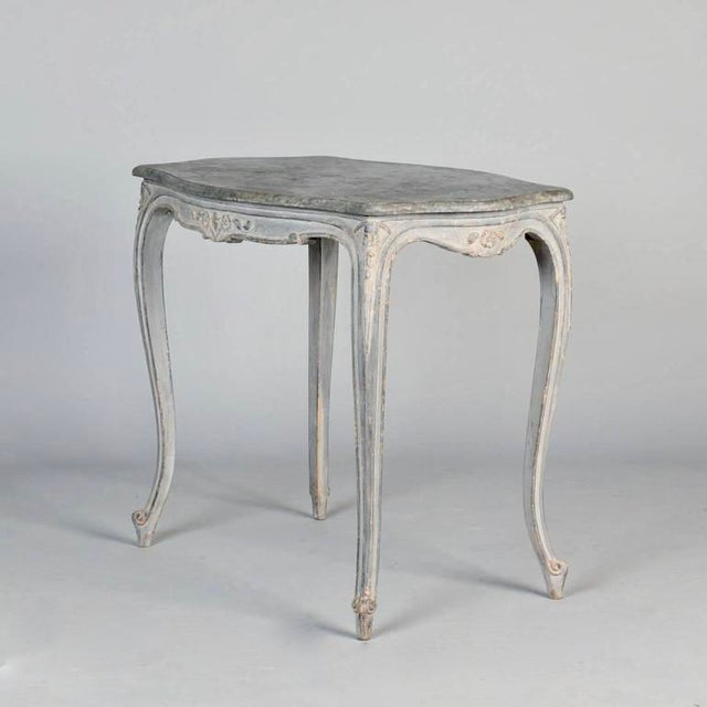 Antique French Painted and Carved Blue Side Table c.1920 - Image 2 of 10