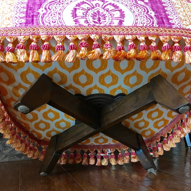 Cotton Mid-Century Modern Block Print Pattern Swivel Slipper Chairs - a Pair For Sale - Image 7 of 8