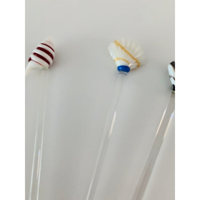 Vintage Art Glass Coastal Beach Sea Shells Nautical Swizzle Sticks - Set of 6 For Sale In Palm Springs - Image 6 of 9