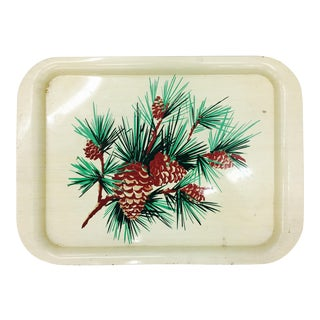 Vintage Pine Tree & Cone Tray For Sale