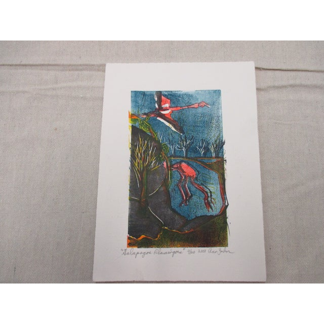 2000 - 2009 Vintage Lithograph Titled: Flamingos and Signed by Artist: Ann Zahn For Sale - Image 5 of 5