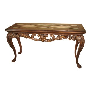 Traditional Drexel Carved Wood and Glass Top Sofa/Console Table