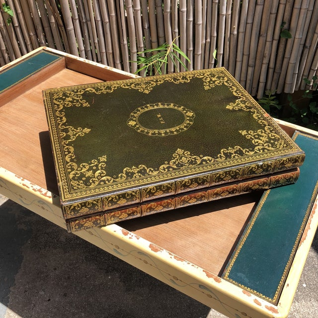 20th Century Hollywood Regency Leather Bound Book Backgammon Table For Sale - Image 11 of 13