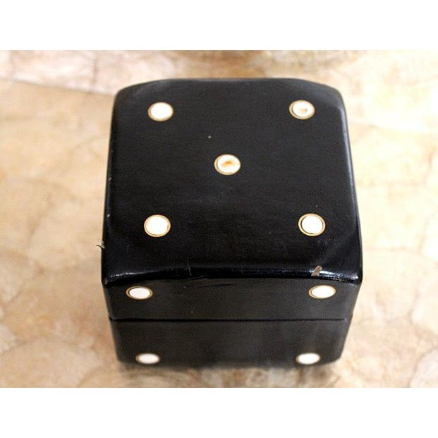 "Great black and white ""dice"" box. Could be used for many purposes with wood dividers on inside. Good condition with a few..."
