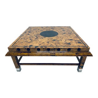 Maitland-Smith Attributed Modern Tessellated Coconut Shell and Chrome Coffee Table For Sale