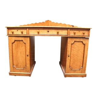 English Victorian Maple Corner Desk For Sale