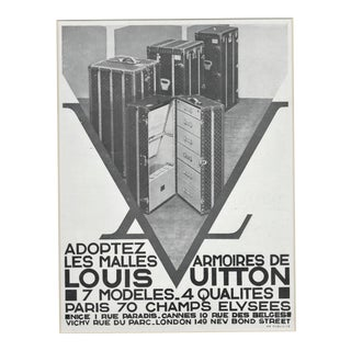 Matted Art Deco Vintage Louis Vuitton Advertising Print-Trunks For Sale