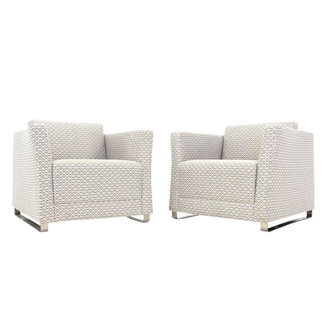 Pair of Bernhardt Upholstered Lounge Chairs For Sale