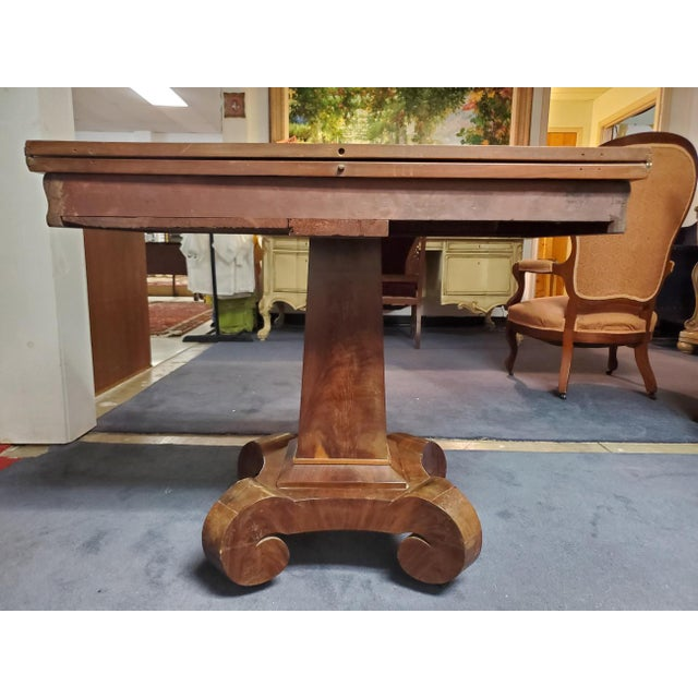 Antique Empire Style Flip Top Mahogany Game Table For Sale - Image 4 of 11