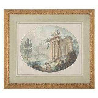 "18th Century Italian ""Capriccio"" Watercolor Painting For Sale"