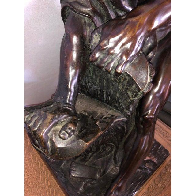 After Edme Dumont 19th Cent Large Bronze Depicting Male Figure of Milo De Croton For Sale - Image 11 of 13