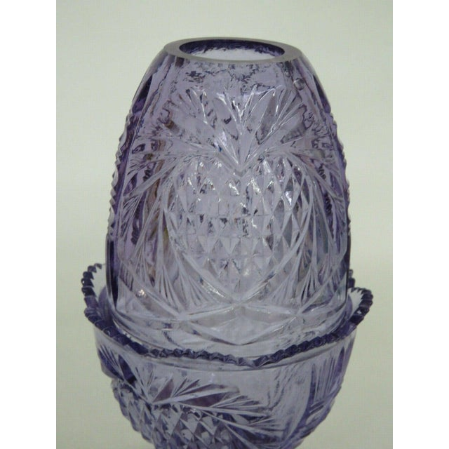 Traditional Fenton Wisteria New Heart Purple Glass Two Piece Fairy Lamp Candle Holder For Sale - Image 3 of 11