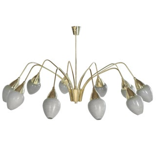 Italian Art Glass Shades and Brass Chandelier For Sale