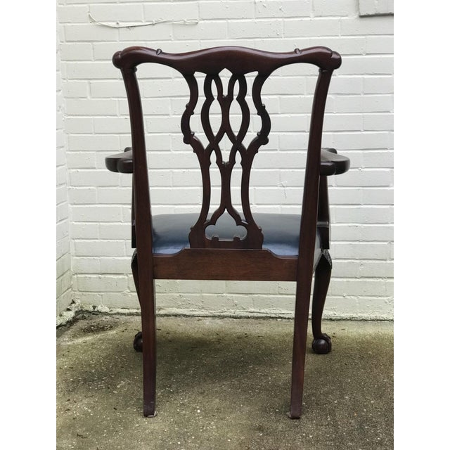 Chippendale Baker Furniture Chippendale Style Ball & Claw Arm Chairs - Set of 10 For Sale - Image 3 of 10