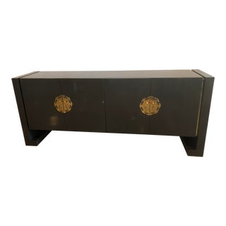 Vintage Century Furniture Grey Lacquered Brass Credenza Buffet Sideboard For Sale