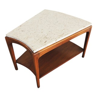 1960s Mid CenturyModern Lane Walnut and Travertine Side Table