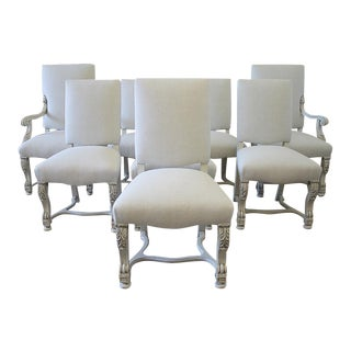 Carved and Linen Upholstered Renaissance Dining Chairs - Set of Eight For Sale