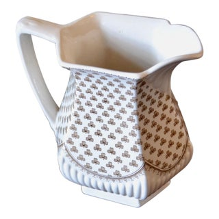 1920s Shabby Chic Transferware Clover Patterned Pitcher
