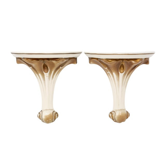 1930's Gold Gilt Ceramic Wall Shelves - a Pair For Sale