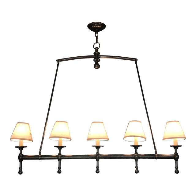 Visual Comfort Linear 5 Light Pendant in Antique Nickel With Silk Shades. For Sale