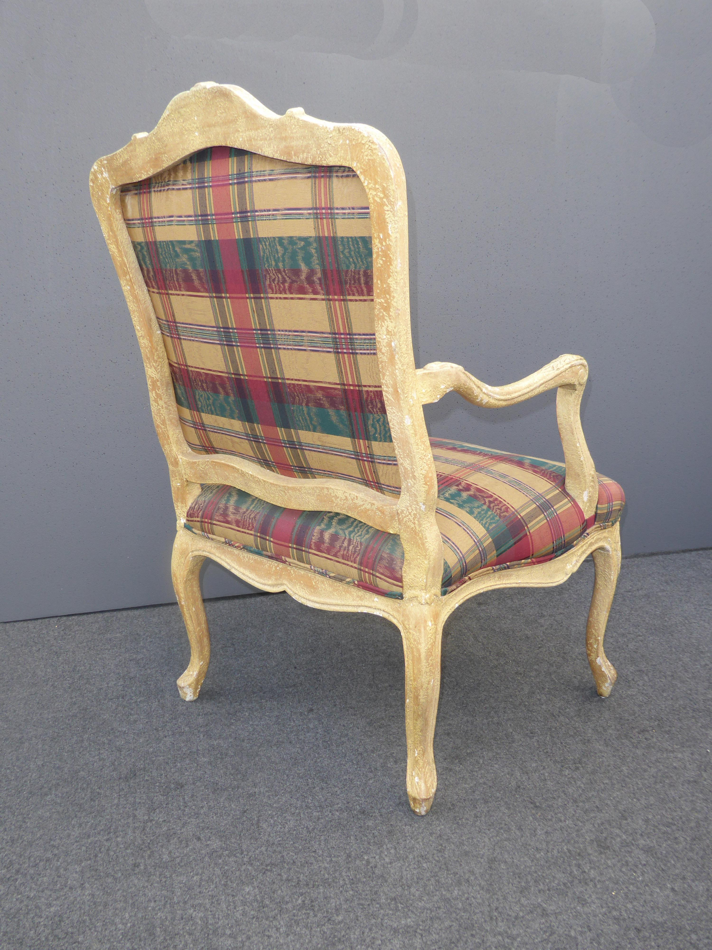Vintage French Country Plaid Burgundy Accent Chair Off White Crackle Finish    Image 6 Of 11